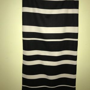 Black and White straight Skirt